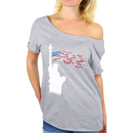 Liberty State Tee - Awkward Styles This Is My Country Off Shoulder T Shirt Tops for Women USA States Patriotic Women's Tshirt Tops Liberty Statue T-shirt Indepencence Day Celebration Shirt Fourth of July Gifts for Her