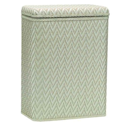 Hamper w Wicker Pattern Design in Cream Finish