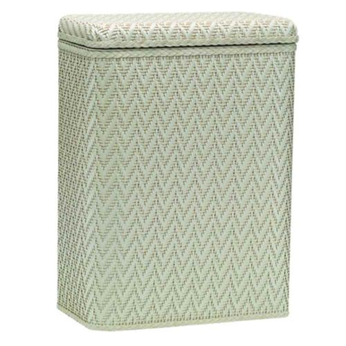 Hamper w Wicker Pattern Design in Cream Finish