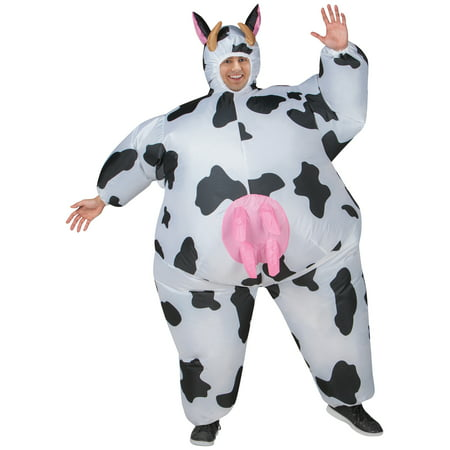 Cow Inflatable Men's Adult Halloween Costume, One Size Fits - Cow Head Costume