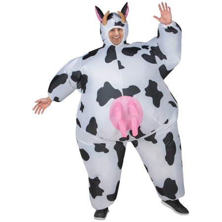 Cow Inflatable Men's Adult Halloween Costume, One Size Fits Most Cow Farm Animal Costume