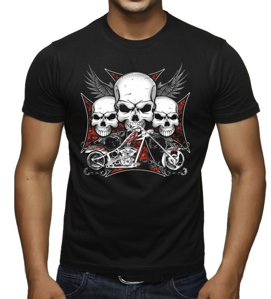 Big and Tall t-shirt lucky 7 skull biker design bigmen tee shirts king size