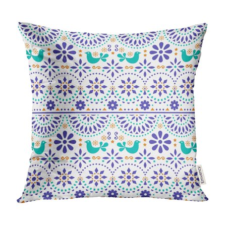 ECCOT Mexican Folk Birds and Flowers Colorful Fiesta Inspired by Traditional Form Mexico Pillow Case Pillow Cover 16x16 inch
