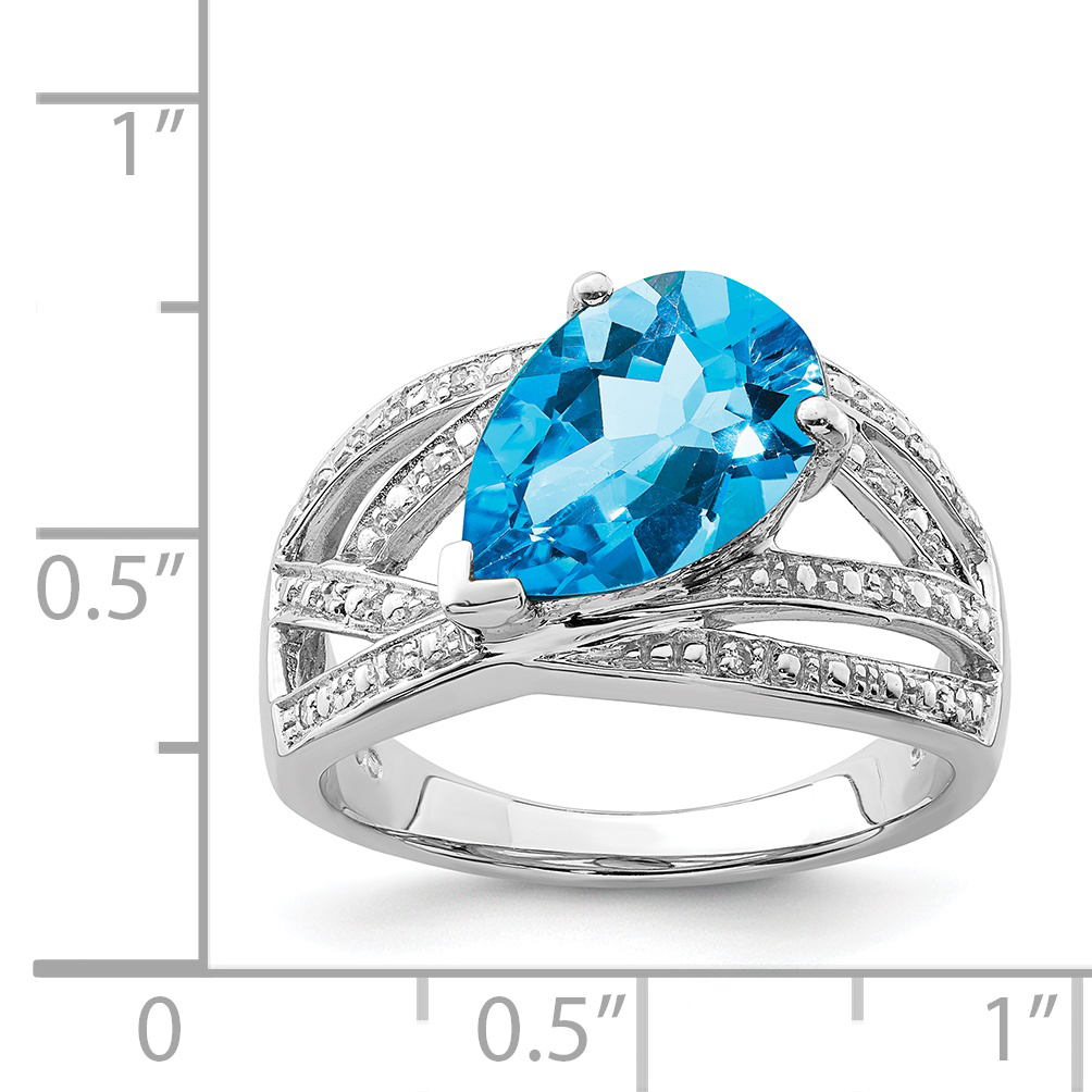 925 Sterling Silver Diamond London Blue Topaz Band Ring Size 9.00 Gemstone Fine Jewelry Gifts For Women For Her - image 1 of 2