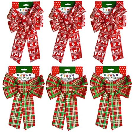 Set of (6) Christmas Holiday Glitter Print Bow, Plaid & Scandinavian 3 Of Each - Floral Printed Bow