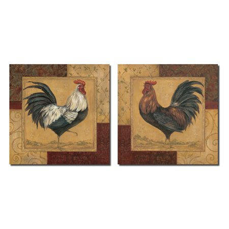 2 french country rooster set; kitchen home décor; two 12x12in