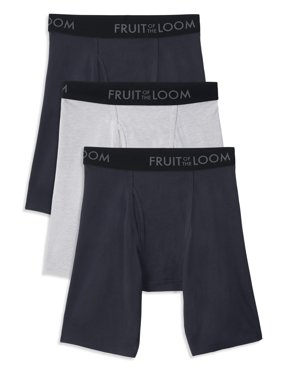 Fruit of the Loom Men's Breathable Long Leg Boxer Brief , 3 Pack, Size 2XL