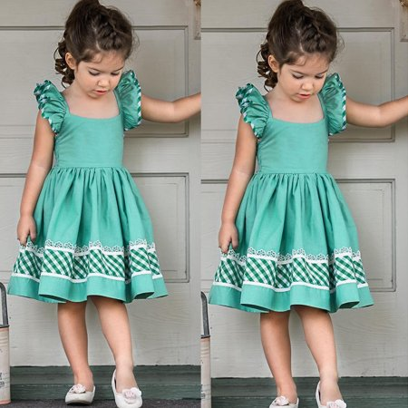 b718f630fad9 Kids Baby Girls Fly Sleeve Prom Party Short Dress Summer Clothes Skirt  Outfit Sundress 3-4 Years