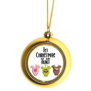 Ornaments Baby Ornament 1st Christmas as an Aunt Baby Girl Ball Ornaments Gold
