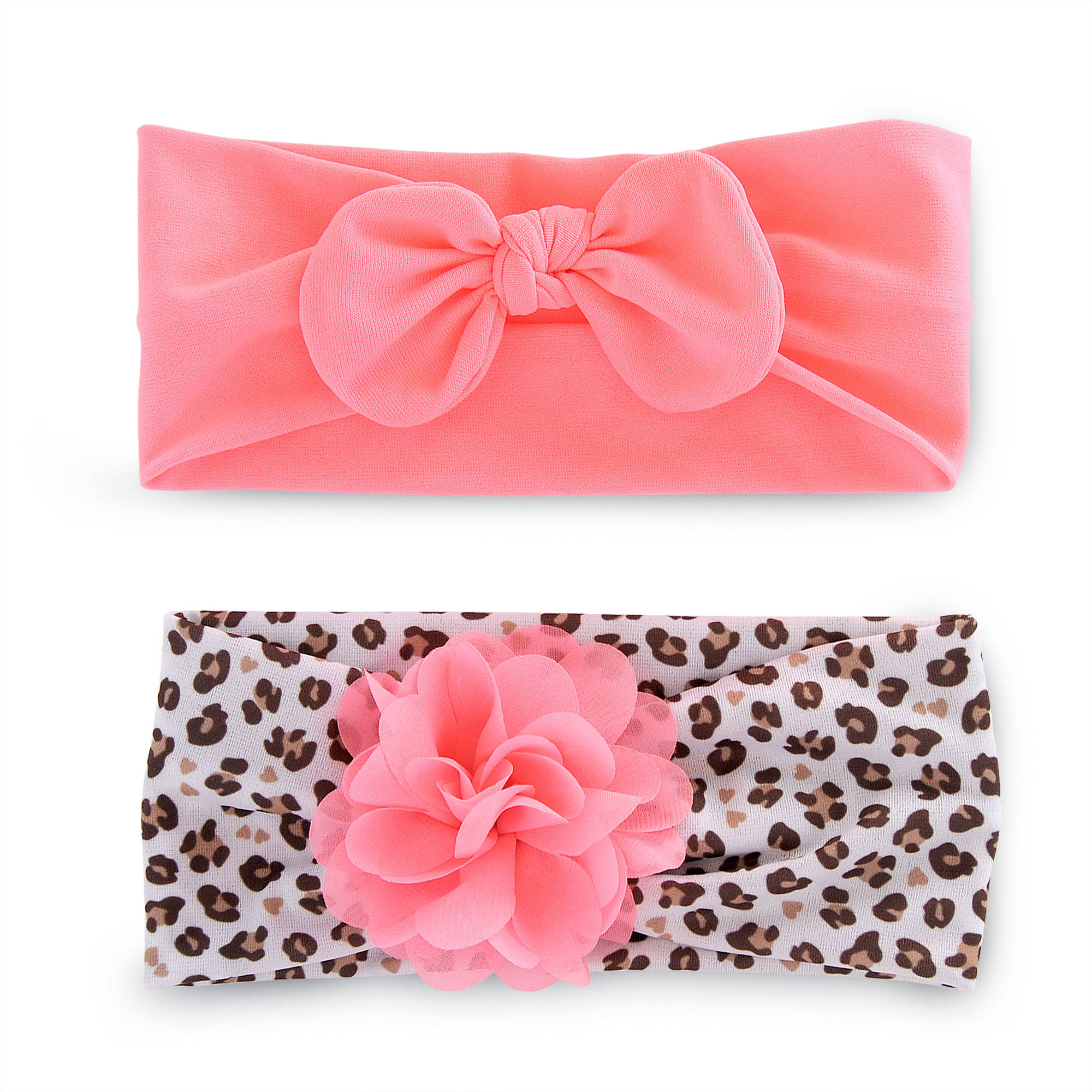 Newborn Baby Girls 2 Pack Chiffon Plume Headwrap - Infant Hair Accessories