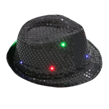 Women Men Novelty LED Fedora Hats Flashing LED Hats For Adults Shining Sequins Jazz Fedoras Dance Hat Color:black Specification:Adult - Sequin Fedora