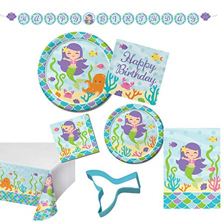 Birthday Treat Plate - Mermaid Ultimate Disposable Tableware Party Kit, Serves 16, bundle of 9 items: Large and small plates and napkins, happy birthday banner, treat bags, table cover, cupcake cookie cutter