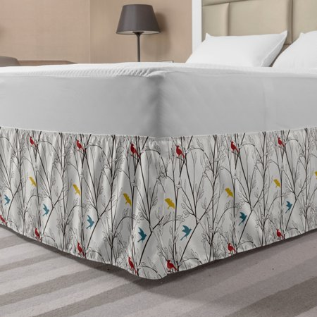 Nature Bed Skirt, Birds Wildlife Cartoon Like Image with Tree Leaf Art Print, Elastic Bedskirt Dust Ruffle Wrap Around for Bedding Decor, 4 Sizes, Mustard Maroon, by Ambesonne