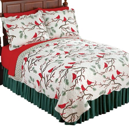Winter Cardinals Christmas Quilt Bedding, Twin, Multi ()