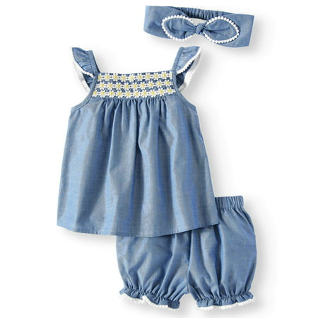 Chambray Woven Babydoll Top, Diaper Cover and Headband, 3pc Set (Baby Girls) - Babydoll Sucker Punch Outfit