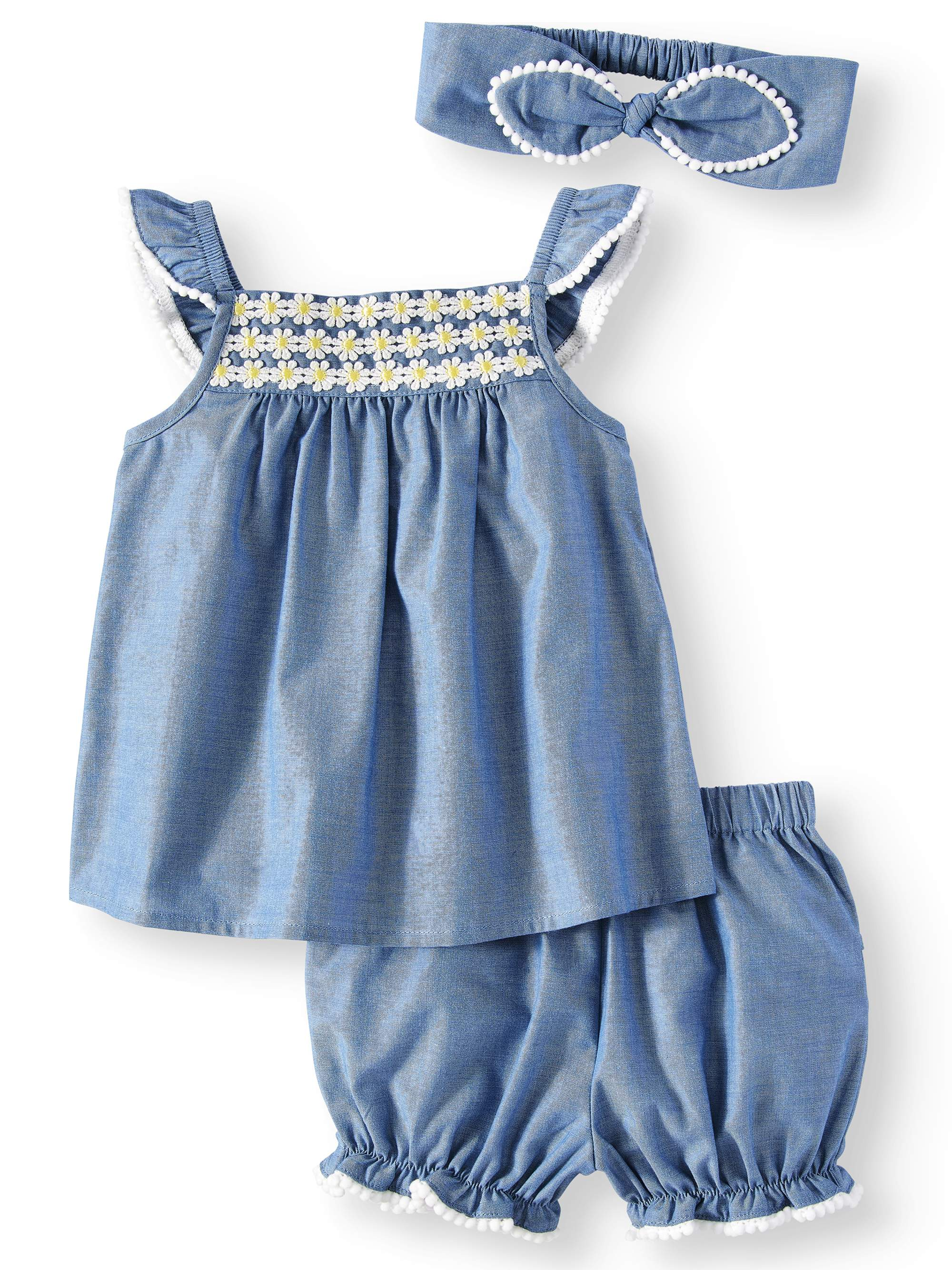 Chambray Woven Babydoll Top, Diaper Cover and Headband, 3pc Set (Baby Girls)
