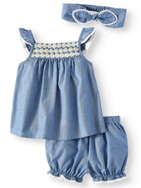 cd20afc2fe0a Product Image Chambray Woven Babydoll Top, Diaper Cover and Headband, 3pc  Set (Baby Girls)