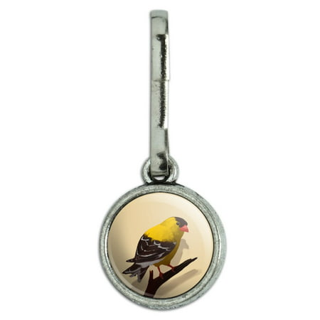 Goldfinch Bird on Tree Limb Antiqued Charm Clothes Purse Suitcase Backpack Zipper Pull Aid