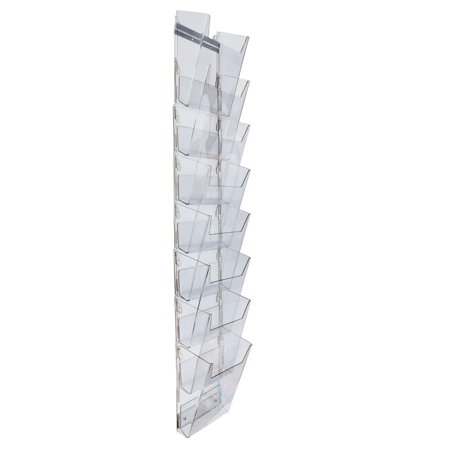 Rack Wall Bracket (Hanging Literature Rack with 8 Tiered Pockets for 8.5x11 Magazines, Wall Mounting Bracket Included - Clear Plastic (2UPRM9HF) )