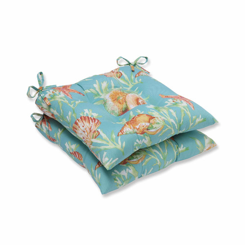 Pillow Perfect Outdoor/ Indoor Daytrip Seaspray Wrought Iron Seat Cushion (Set of 2)