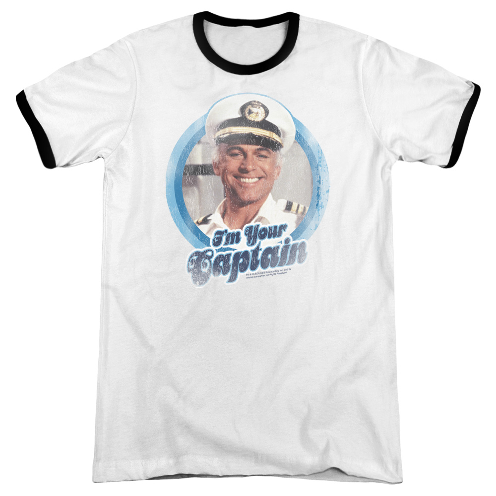Love Boat I'M Your Captain Mens Adult Heather Ringer Shirt