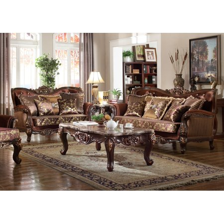 Formal Traditional Sofa Set 2pc Antique Sofa Loveseat Cherry Finish Crystal Tufting Back Cushioned Couch Set ()
