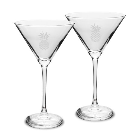 Pineapple 10 oz Classic Martini Glass - Set of 2