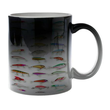 KuzmarK Black Heat Morph Color Changing Coffee Cup Mug 11 Ounce - Many Fishing Lure Lures (Kids Black Morph Suit)