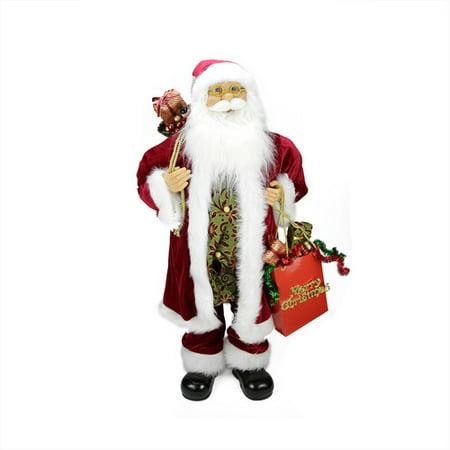 (Northlight Seasonal Poinsettia Standing Santa Claus Figure with Merry Christmas Gift Bag)