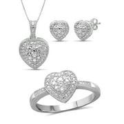 JewelersClub White Diamond Accent Sterling Silver 3-Piece Heart Jewelry Set