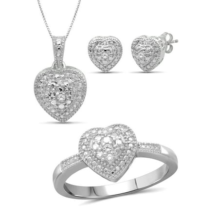 JewelersClub White Diamond Accent Sterling Silver 3-Piece Heart Jewelry Set