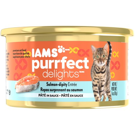 (IAMS PURRFECT DELIGHTS Pate in Sauce Salmon-Dipity Entree Canned Cat Food, 3 oz. (Pack of 24))
