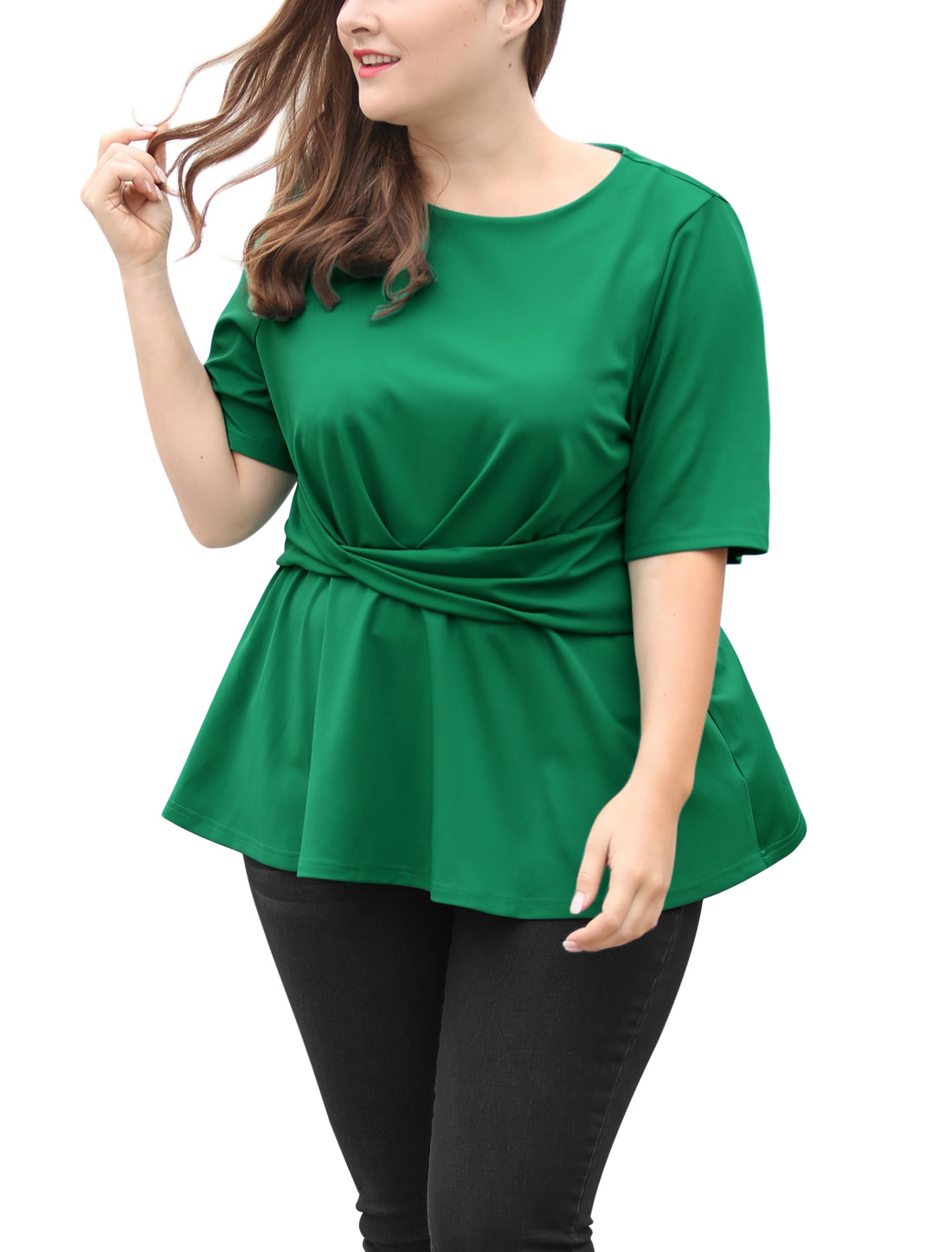 Unique Bargains Women's Plus Size Twisted Knot Front Short Sleeves Peplum Top