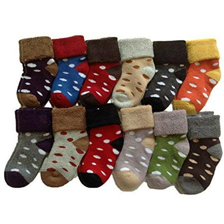 Random Dot - Lian LifeStyle 5 Pairs Children Cashmere Wool Dotted Socks Boy 1Y-3Y Random Color