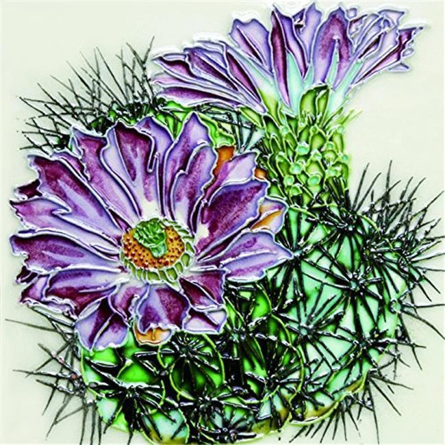 En Vogue H-69 6 x 6 in. Purple Flower Cactus, Decorative Ceramic Art Tile
