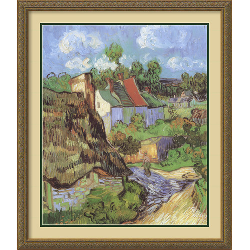 Amanti Art 'Houses at Auvers' by Vincent Van Gogh Framed Painting Print