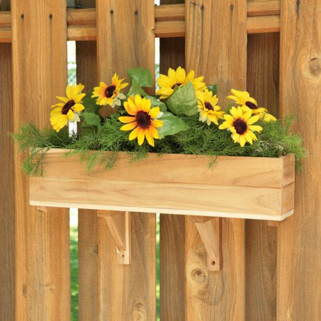 - Rectangle Teak Wood Flourish Flower Box