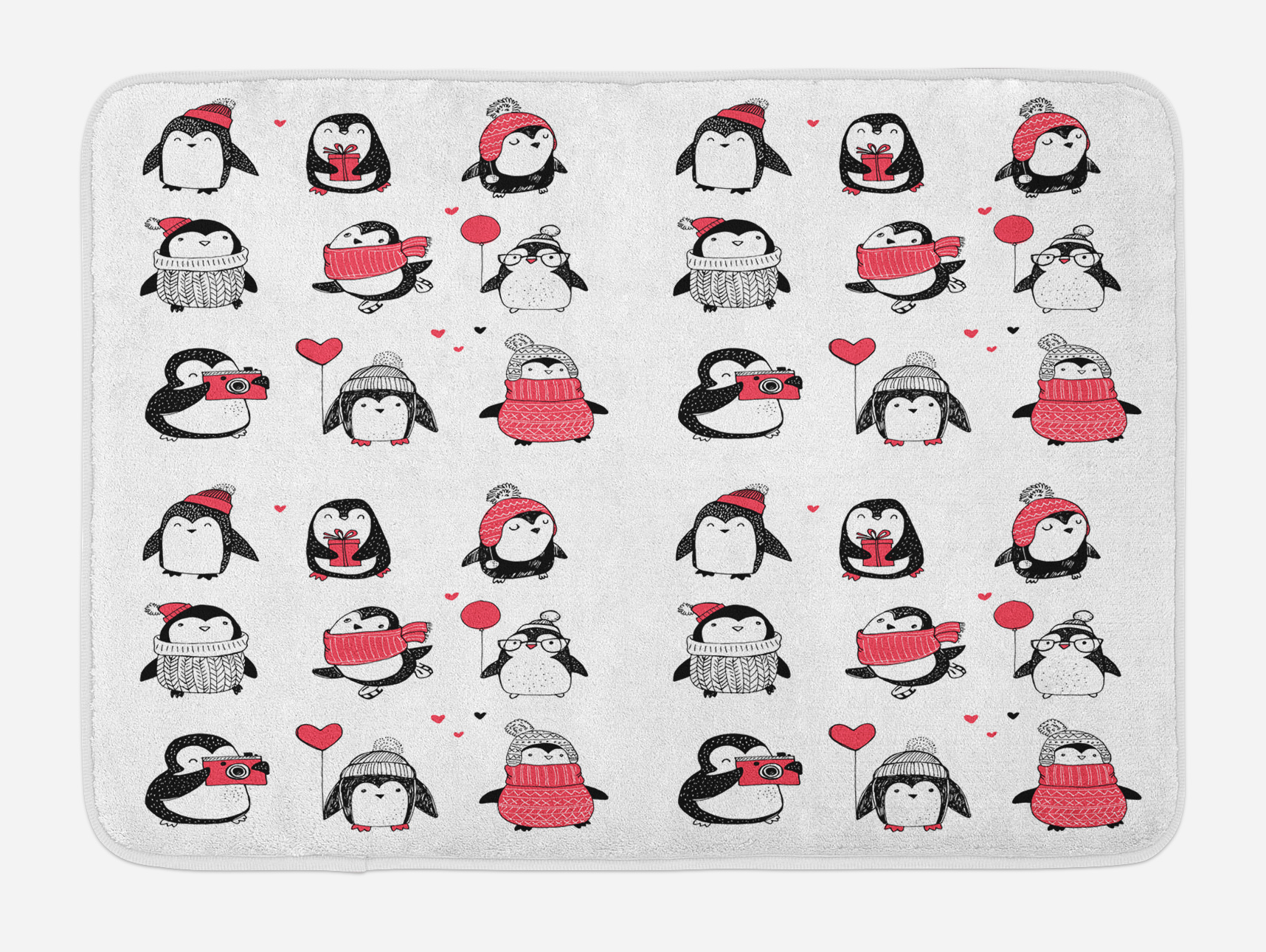 Winter Bath Mat, Cute Penguins Hand Drawn Merry Christmas Greetings Babies Kids Toddler,... by 3decor llc
