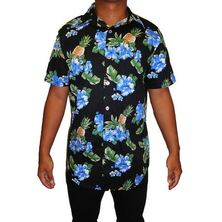 Men's Hawaiian Aloha Traditional All-Over Print Button Down Shirt -  (MEDIUM)  Made in USA  W26](Hawaian Shirts)