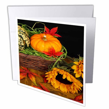 3dRose Pumpkin and Squash in a Basket with Sunflower , Greeting Cards, 6 x 6 inches, set of - Pumpkin Basket