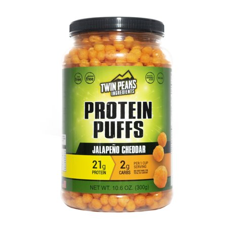 - Twin Peaks Low Carb, Allergy Friendly Protein Puffs, Jalapeño Cheddar (300g, 21g Protein, 2g Carbs, 120 Cals) …