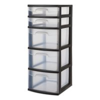 Sterilite 5-Drawer Tower, Black