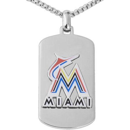 "MLB License Stainless Steel Miami Marlins Dog Tag Logo Pendant, 22"" Chain by"