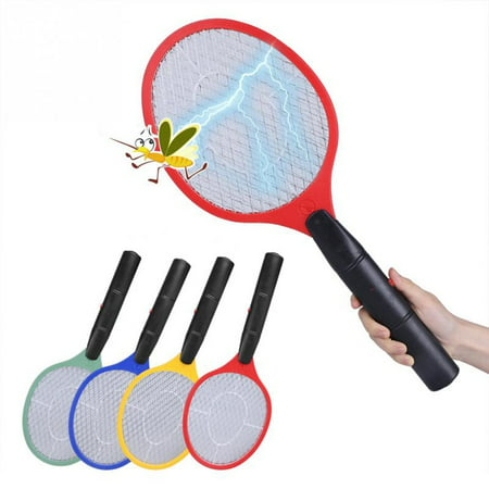 Triple Nets House Fly Swatter Bug Zapper Racket Battery Operated Pest Repeller Mosquito Zapper Wireless Long Handle ()
