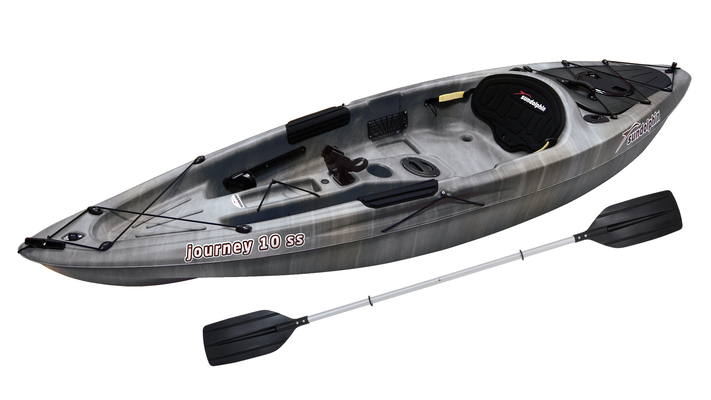 Sun Dolphin Journey 10 SS Sit-On Angler Kayak Olive, Paddle Included by KL Outdoor