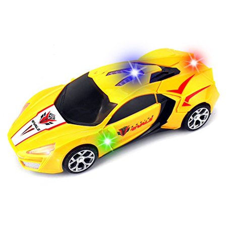 Racing Rivals Transforming Battery Operated Kid's Bump and Go Toy Car w/ Cool Flashing Lights, - Cool Toy Cars