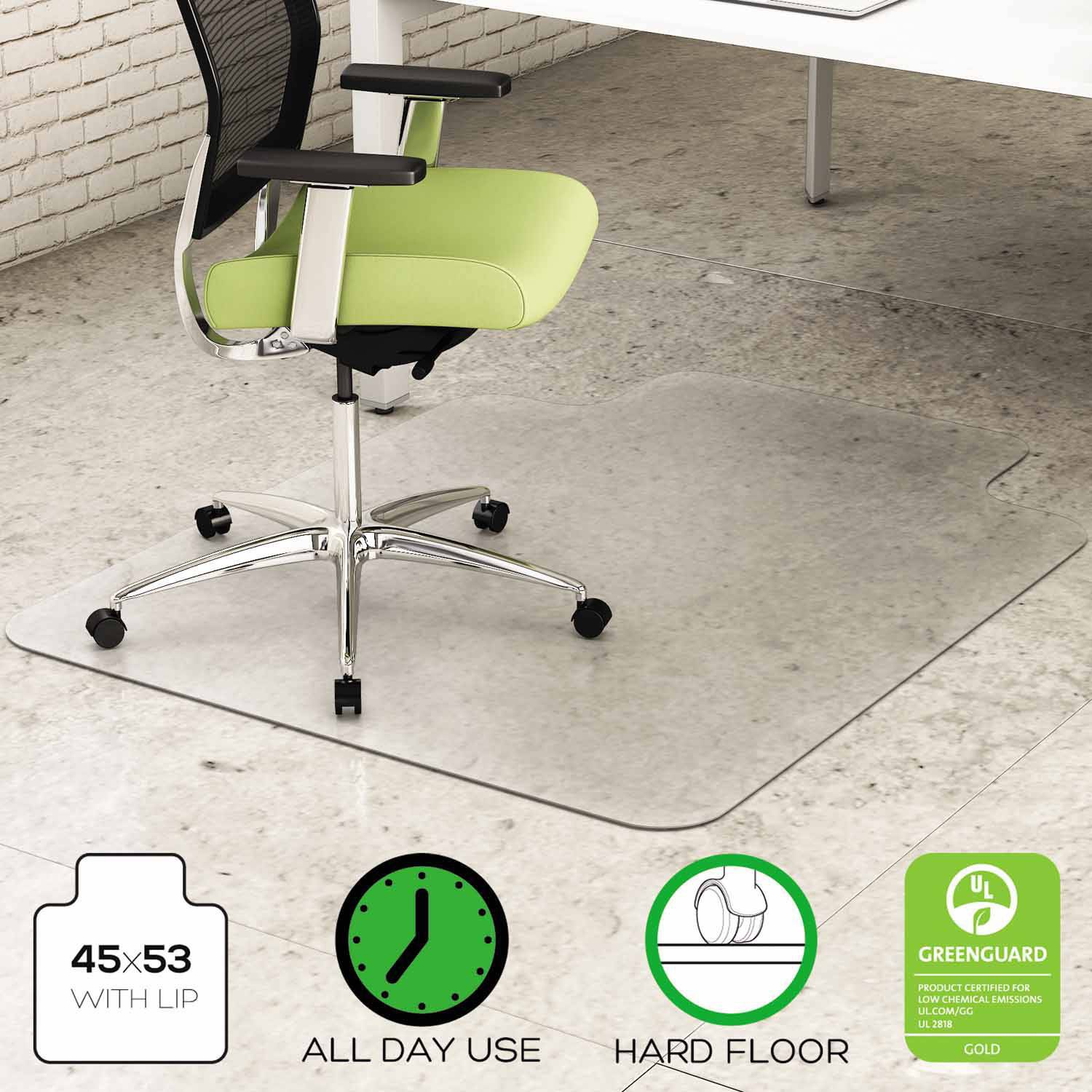 """deflecto EnvironMat Recycled Anytime Use Chair Mat for Hard Floor, 45"""" x 53"""" with Lip, Clear"""