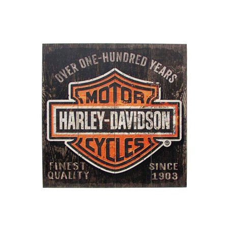 Harley-Davidson 28 x 28 Over One Hundred Years B&S Wood Sign W11-HARL-SHIELD, Harley Davidson