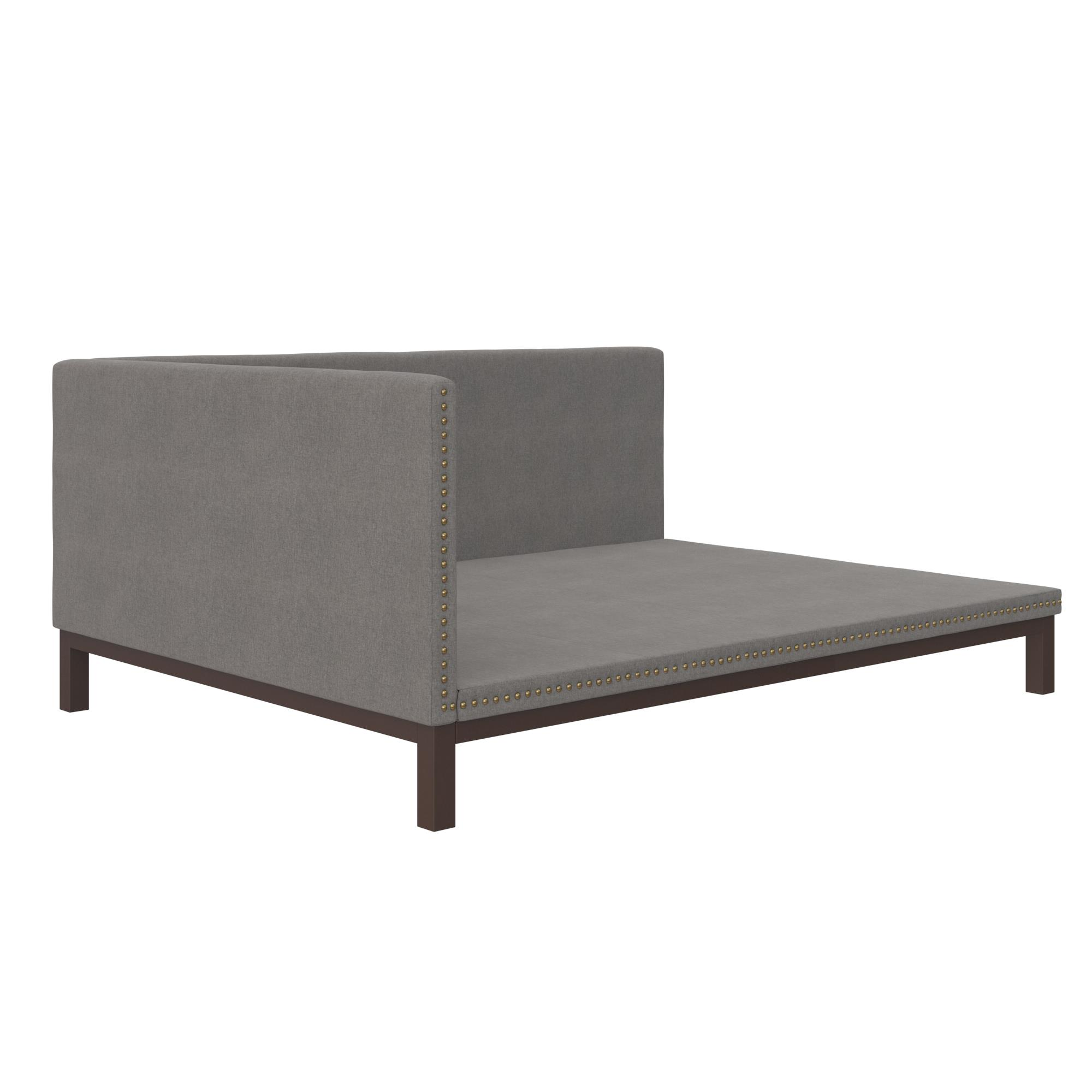 Ordinaire DHP Mid Century Upholstered Modern Daybed, Full Size, Grey Linen    Walmart.com