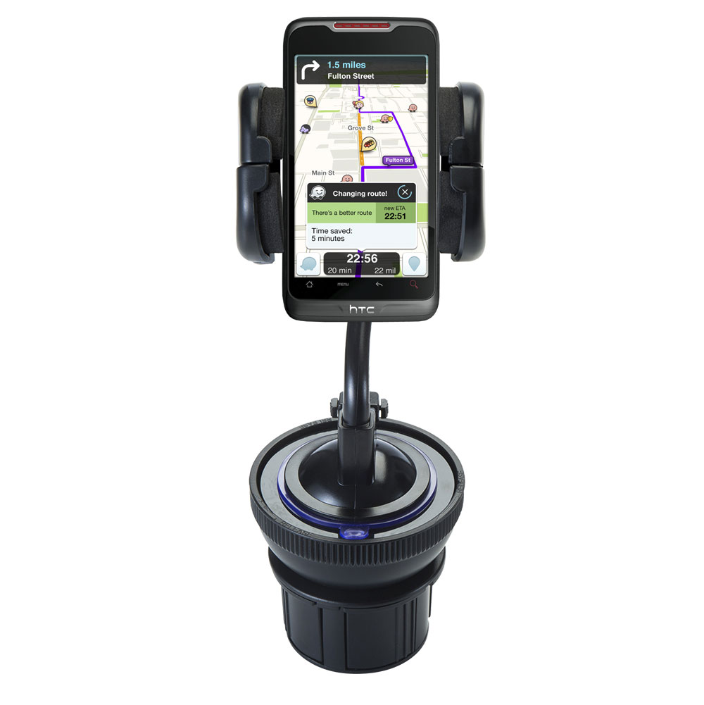 Unique Auto Cupholder and Suction Windshield Dual Purpose Mounting System for HTC Merge - Flexible Holder System Includes Two Mount Options
